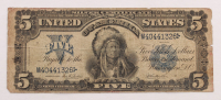 """1899 $5 Five Dollars """"Indian Chief"""" Silver Certificate Large Size Bank Note"""