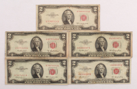 Lot of (5) 1953-1963 $2 Two-Dollar Red Seal United States Legal Tender Notes