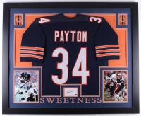 Walter Payton Signed 35x43 Custom Framed Cut Display with Jersey (Payton Hologram)