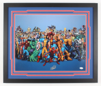 Stan Lee Signed Marvel 22x26 Custom Framed Photo Display (JSA COA)