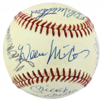 500 Home Run Club ONL Baseball Signed by (12) with Mickey Mantle, Ted Williams, Hank Aaron, Willie Mays, Willie McCovey (PSA LOA)
