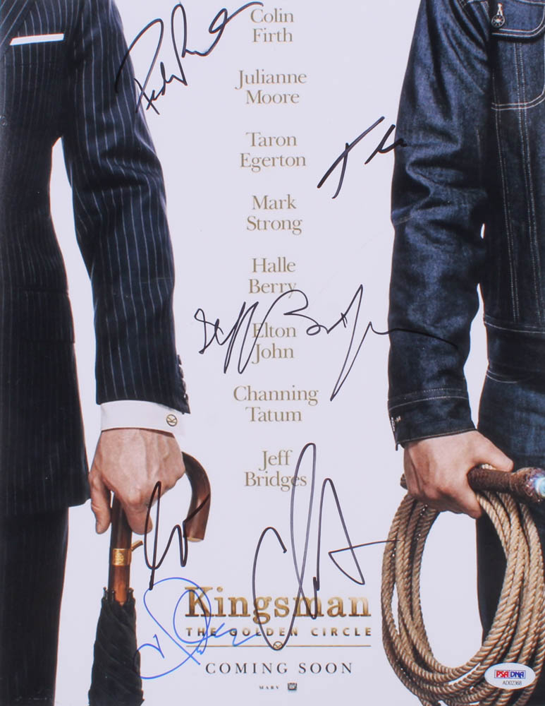 """""""Kingsman: The Golden Circle"""" 11x14 Photo Signed by (6) with Halle Berry, Channing Tatum, Jeff Bridges, Pedro Pascal, Taron Egerton & Colin Firth (PSA Hologram) at PristineAuction.com"""