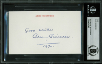 """Alec Guinness Signed 3x5 Cut Inscribed """"Good Wishes"""" & """"1970"""" (BAS Encapsulated)"""