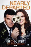 """Bones"" 12x18 Photo Cast-Signed by (4) with David Boreanaz, Tamara Taylor, Michaela Conlin, & Eric Millegan (Beckett LOA)"