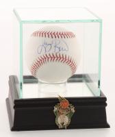 Larry Bird Signed OML Baseball with High-Quality Display Case & Celtics Pin (PSA COA)