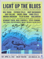 """""""Light Up the Blues"""" Autism Speaks 18x24 Poster Signed by (26) with Neil Young, Jack Black, Judy Collins, Tyler Kilmer (Beckett LOA)"""