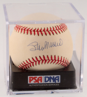 Stan Musial Signed ONL Baseball with Display Case (PSA Hologram - Graded 8.5)