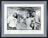 "LE ""Space Jam"" 18x24 Custom Framed Photo Display Signed by (7) with Michael Jordan, Charles Barkley, Patrick Ewing, Larry Johnson (Beckett LOA)"