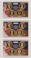 Lot of (3) 2007-S United States Mint Presidential $1 Dollar Coin Proof Sets with George Washington, John Adams, Thomas Jefferson, & James Madison