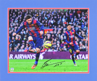 Lionel Messi Signed Barcelona 20x24 Custom Matted Photo Display (Fanatics Hologram)