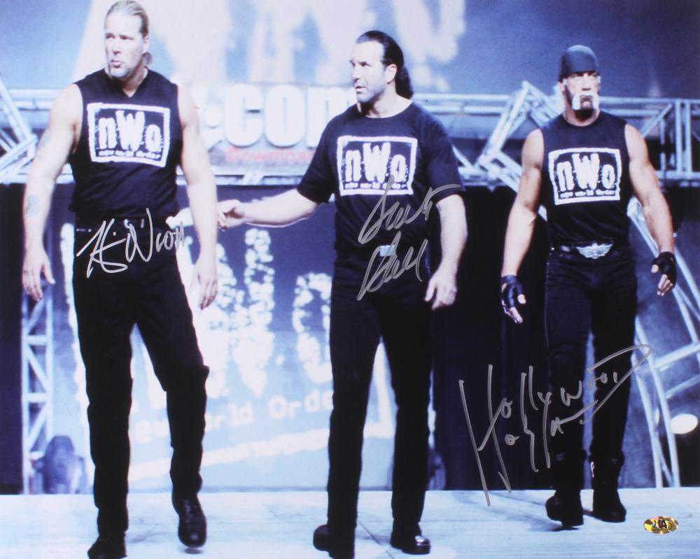 """Hollywood"" Hulk Hogan, Kevin Nash & Scott Hall Signed NWO 16x20 Photo (MAB Hologram) at PristineAuction.com"