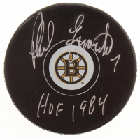 "Phil Esposito Signed Boston Bruins Logo Hockey Puck Inscribed ""HOF 1984"" (MAB Hologram) at PristineAuction.com"