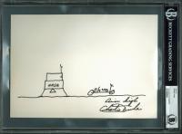 """Charlie Duke Signed 7x10 Original Sketch Cut Inscribed """"Aim High"""" (BAS Encapsulated)"""