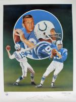 Johnny Unitas Signed LE Baltimore Colts 18x24 Lithograph (PSA COA)