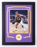 Jerry West Signed Los Angeles Lakers 14x18 Custom Framed Photo Display (JSA COA)