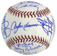 """Chicago Cubs Legends"" Wrigley Field 100th Anniversary Logo Baseball Team-Signed by (28) with Andre Dawson, Fergie Jenkins, Ernie Banks, Milt Pappas (MLB Hologram & Fanatics Hologram)"