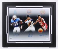 Earl Campbell, Nolan Ryan & Hakeem Olajuwon Signed 22x26 Custom Framed Photo Display (JSA COA & Ryan Hologram)