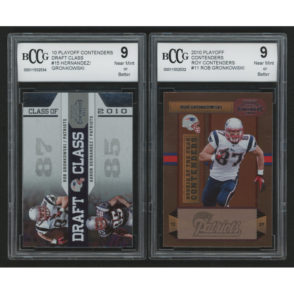 Lot Of 2 Beckett Graded 9 2010 Playoff Contenders Cards