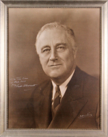 "Franklin D. Roosevelt Signed 20x25 Custom Framed Photo Display Inscribed ""To the Town Criers of Rhode Island"" (Beckett LOA)"
