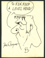 "Fred Gwynne Signed ""The Munsters"" 8x11 Herman Munster Original Sketch Cut Inscribed ""Keep a Level Head!"" (Beckett COA)"