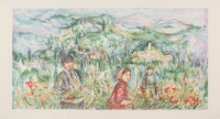 """Edna Hibel Signed """"The Flower Harvest"""" Limited Edition 16x28 Lithograph"""