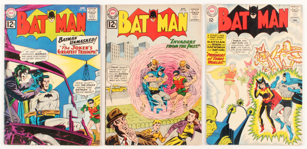"""Lot of (3) 1962-63 """"Batman"""" DC Comic Books with #148, #149, & #153 at PristineAuction.com"""