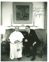 "Lyndon B. Johnson Signed 8x10 Photo with Pope Paul VI Inscribed ""With Very Good Wishes"" (Beckett LOA)"