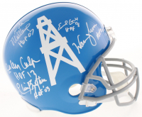 Houston Oilers Full-Size Helmet Signed by (5) with Warren Moon, Earl Campbell, Elvin Bethea, Curley Culp, & Bruce Matthews with (5) Inscriptions (Beckett COA)