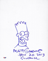 "Matt Groening Signed ""The Simpsons"" 11x14 Bart Simpson Original Sketch Cut Inscribed ""Jan 20, 2013"" & ""Sundance"" (PSA COA)"