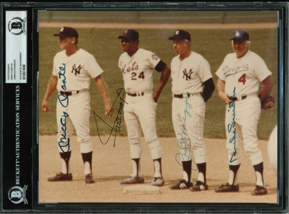 Baseball Hall of Famers 8x10 Photo Signed by (4) with Mickey Mantle, Willie Mays, Joe DiMaggio, & Duke Snider (BAS Encapsulated) at PristineAuction.com