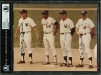 Baseball Hall of Famers 8x10 Photo Signed by (4) with Mickey Mantle, Willie Mays, Joe DiMaggio, & Duke Snider (BAS Encapsulated)