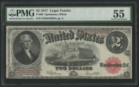1917 $2 Two Dollars Legal Tender Large Bank Note (PMG 55) at PristineAuction.com