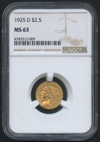 1925-D $2.50 Indian Quarter Eagle Gold Coin (NGC MS 63)