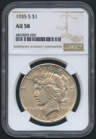 1935-S $1 Peace Silver Dollar (NGC AU 58) at PristineAuction.com