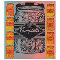 "Steve Kaufman Signed ""Campbell's Soup"" Hand Painted Limited Edition 11x15 Silkscreen on Canvas # 5/50 at PristineAuction.com"