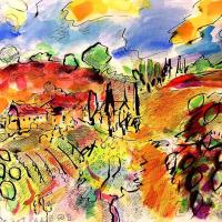 "Wayne Ensrud Signed ""Castellare Vineyard in Chianti, Italy"" 22x30 Mixed Media Original Artwork at PristineAuction.com"