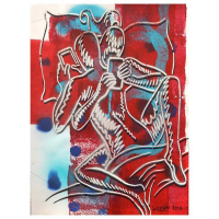 "Mark Kostabi Signed ""Reverie At Chateau Marmont"" 30x22 Original Artwork at PristineAuction.com"