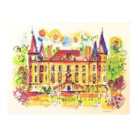 "Wayne Ensrud Signed ""Chateau Pichon Longueville Comtess de Lalande, 1"" 20x29 Mixed Media Original Artwork at PristineAuction.com"