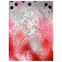 "Mark Kostabi Signed ""Holding On"" 30x22 Original Artwork"