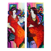 "Set of (2) Patricia Govezensky Signed ""Happy Hour"" 11x29 Original Watercolors at PristineAuction.com"