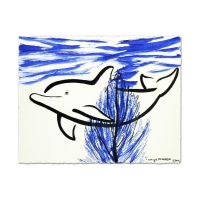 "Wyland Signed ""Dolphin Coral Reef"" 30x22 Original Sumi Ink Painting"