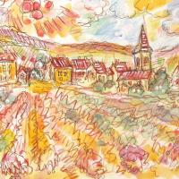 "Wayne Ensrud Signed ""Chassange-Montrachet, Burgundy"" 13x16 Mixed Media Original Artwork at PristineAuction.com"