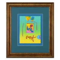 "Peter Max Signed ""Love"" 19x22 Custom Framed One-Of-A-Kind Acrylic Mixed Media at PristineAuction.com"