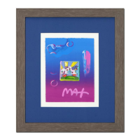 "Peter Max Signed ""Cosmic Runner"" 18x21 Custom Framed One-Of-A-Kind Acrylic Mixed Media"