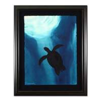 "Wyland Signed ""Turtle"" 32x39 Custom Framed Original Watercolor Painting at PristineAuction.com"