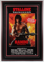 "Sylvester Stallone Signed ""Rambo: First Blood Part II"" 33x 47.25 Custom Framed Movie Poster Display (JSA LOA) at PristineAuction.com"