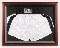 Muhammad Ali Signed 22.25x28.25 Custom Framed Trunks Display (JSA LOA)