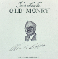 "Warren Buffett Signed ""There's Nothing Like Old Money"" 5x5 Recycled U.S. Currency Cut (JSA LOA)"