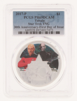2017-P Star Trek TNG 30th Anniversary - First Day Issue  $1 Tuvalu One Dollar Colorized Coin with Display (PCGS PR69DCAM)