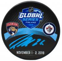 Patrik Laine Signed 2018 Global Series Logo Hockey Puck (Fanatics Hologram)
